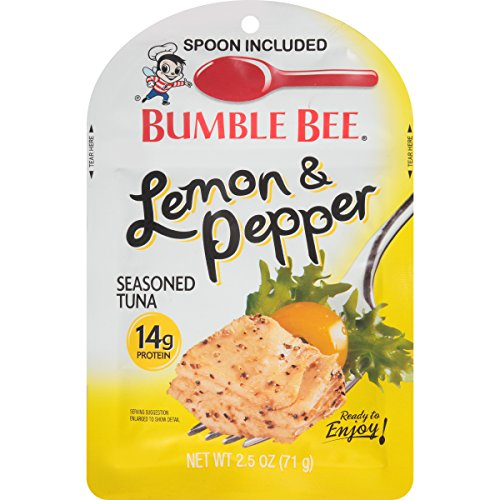 BUMBLE BEE Lemon and Pepper Seasoned Tuna Pouch with Spoon, Tuna Fish, Gluten Free, Keto Snack, High Protein, Bulk Snacks, 2.5 Ounce Pouch (Pack of 12) Bumble Bee Chunk Light Tuna