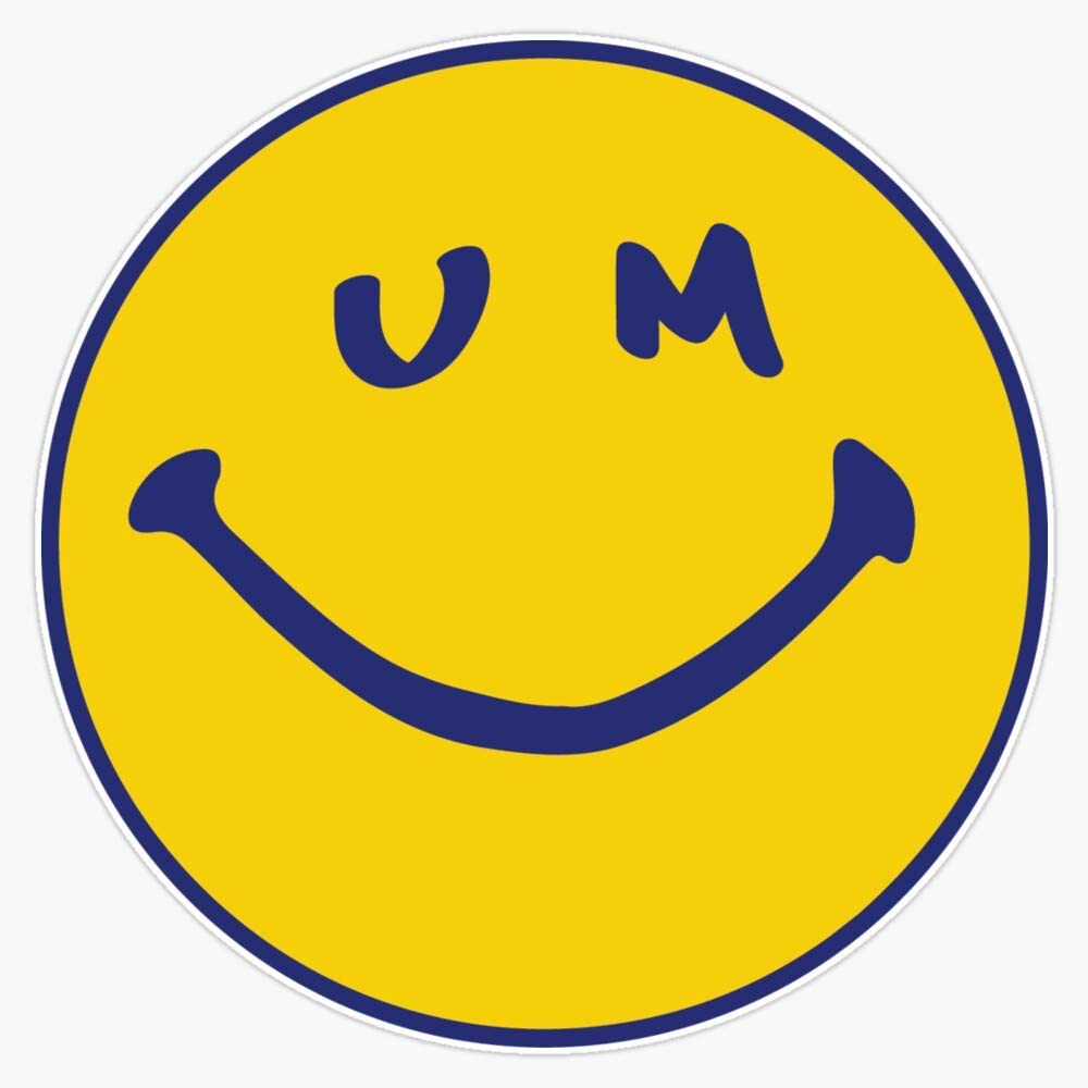 """TCT Trading Smiley UMich Vinyl Stickers Waterproof Decal Car, Laptop, Bumper Stickers 5"""""""