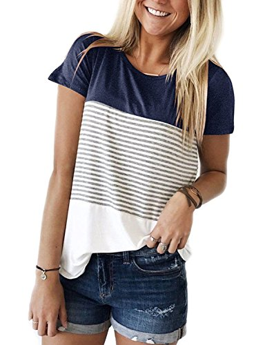 Glomeen Women's T-Shirt Short Sleeve Round Neck Color Block Stripe Casual Tops Blouse