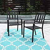 PHI VILLA Black Outdoor Patio Metal Steel Dining Arm Chairs Set of 2 for Garden,Backyard,Living Room
