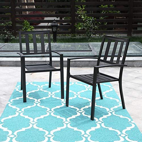 PHI VILLA Outdoor Patio Steel Slat Seat Dining Arm Chairs Set of 2 for Garden,Backyard,Living Room