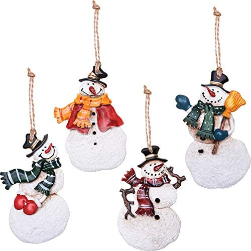 Boao 4 Pieces Christmas Tree Hanging Dancing Resin Angels or Snowman Christmas Tree Ornaments Holiday Decoration (Multicolor Snowman)