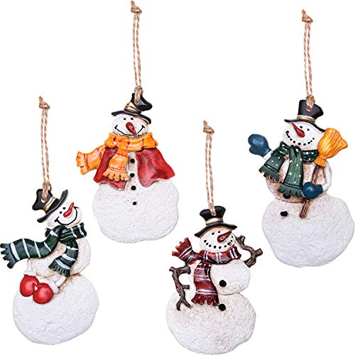 Boao 4 Pieces Christmas Tree Hanging Dancing Resin Angels or Snowman Christmas Tree Ornaments Holiday Decoration (Multicolor ()