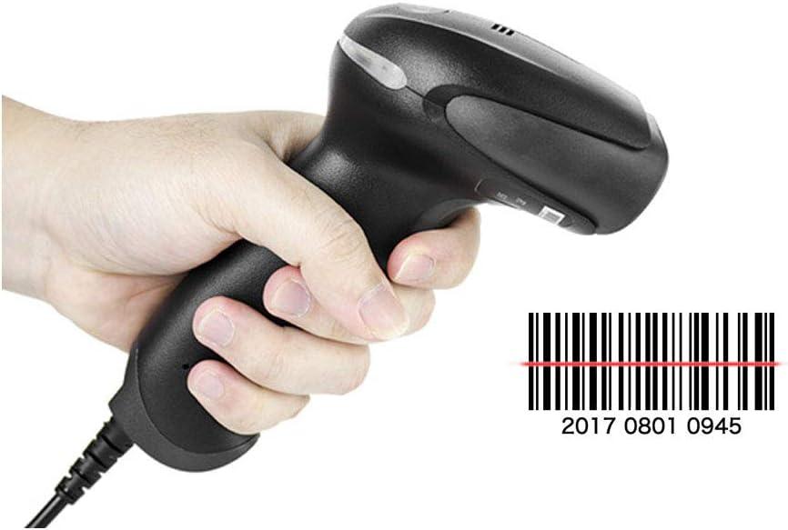 ERLIANG Escáner de código de Barras Escáner láser Código Express Supermercado cableado de una Sola dimensión Código de Barras Pistola Color: Negro