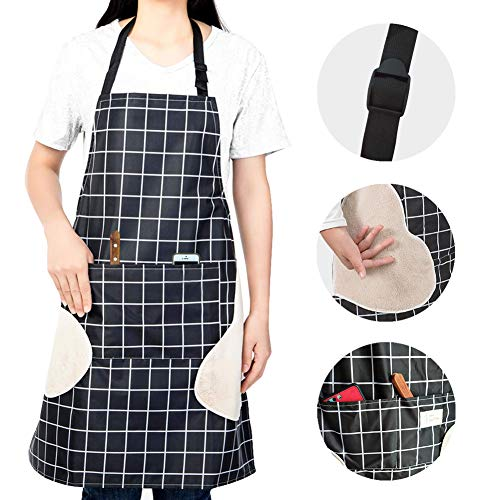 Adjustable Waterproof Kitchen Cooking Apron Adjustable Neck with Pockets Black Checkered Home Cleaning Apron for Women Man Vinyl Waterproof and Oil-proof Apron with Towels on Both Sides (black)