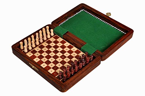 The House of Staunton PEG WOODEN Travel Chess Set - 7'' x 5'' by The House of Staunton