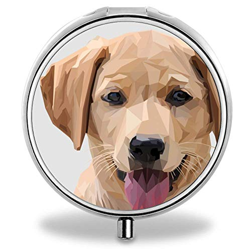 Pill Organizer Case Box,Daily Round Vitamin Organizer Box-Yellow Labrador Puppy (Best Vitamins For Labradors)