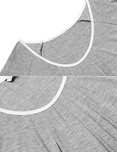 Vestido Manga Grau Cuello Para Camisón Dormir Bastante Suelta Corta V Camisa Con En Mujer De Falda Verano rtwqparxg