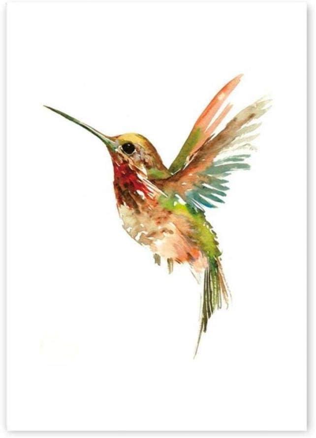 Csjunjie Cuadro en Lienzo Pared Hermoso pájaro Moderno Lámina de póster Sala de Estar murales de Pared Cuadro Decoración para el hogar Acuarela Abstracta Pájaro, PR1609-C, 50cm X 40cm Sin Marco