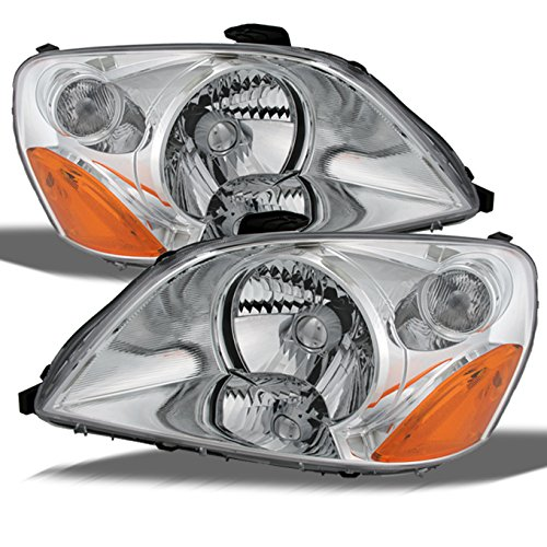 Honda Pilot Chrome Bezel OE Replacement Headlights Driver/Passenger Amber Head Lamps Pair New (Honda Pilot Headlight Assembly)