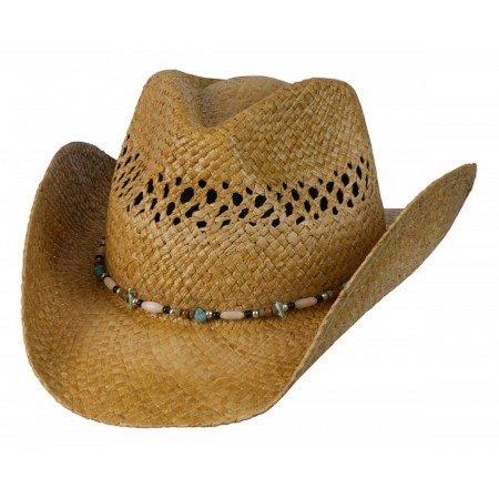 (Conner Hats Women's Gem Ladies Western Raffia Straw Hat, Tea, OS)
