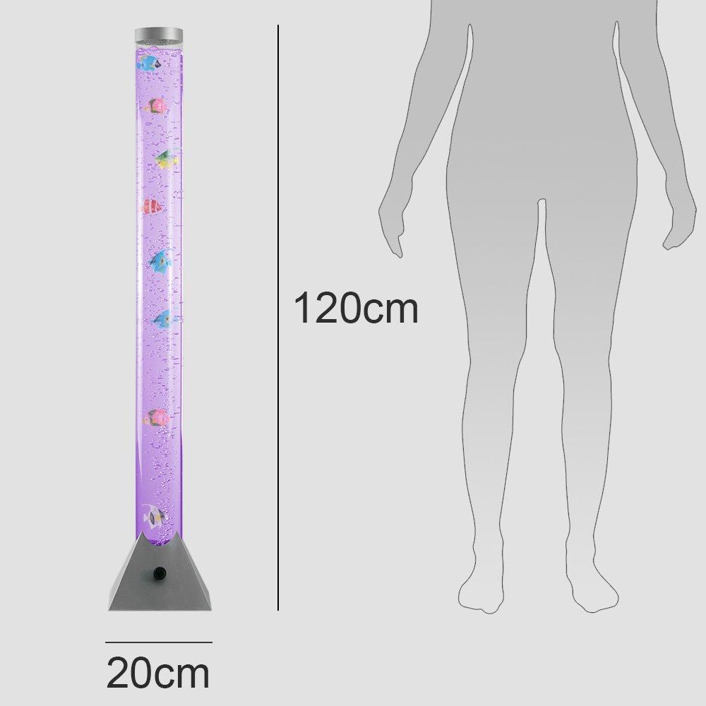 MiniSun - Lámpara de pie LED moderna y de diseño de 120cm, con luces que cambian de color, corriente de burbujas y peces de colores: Amazon.es: Iluminación