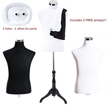 Amazon.com: Male Dress Form Torso with BLACK Wood Stand and ...