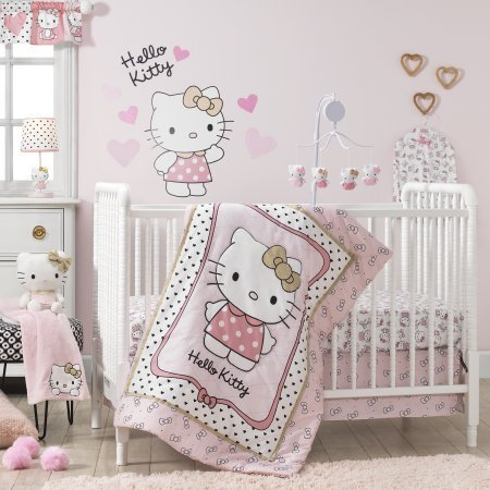 - TL 3 Piece Baby Girls Pink White Hello Kitty Crib Bedding Set, Newborn Kitten Themed Nursery Bed Set, Infant Child Cat Animal Bow Cartoon Animated Dots Hearts Pattern Blanket Quilt, Cotton Polyester