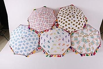 Lot de 5 pcs paraguas Vintage parasol paraguas indio bordado a mano para sombrilla paraguas de