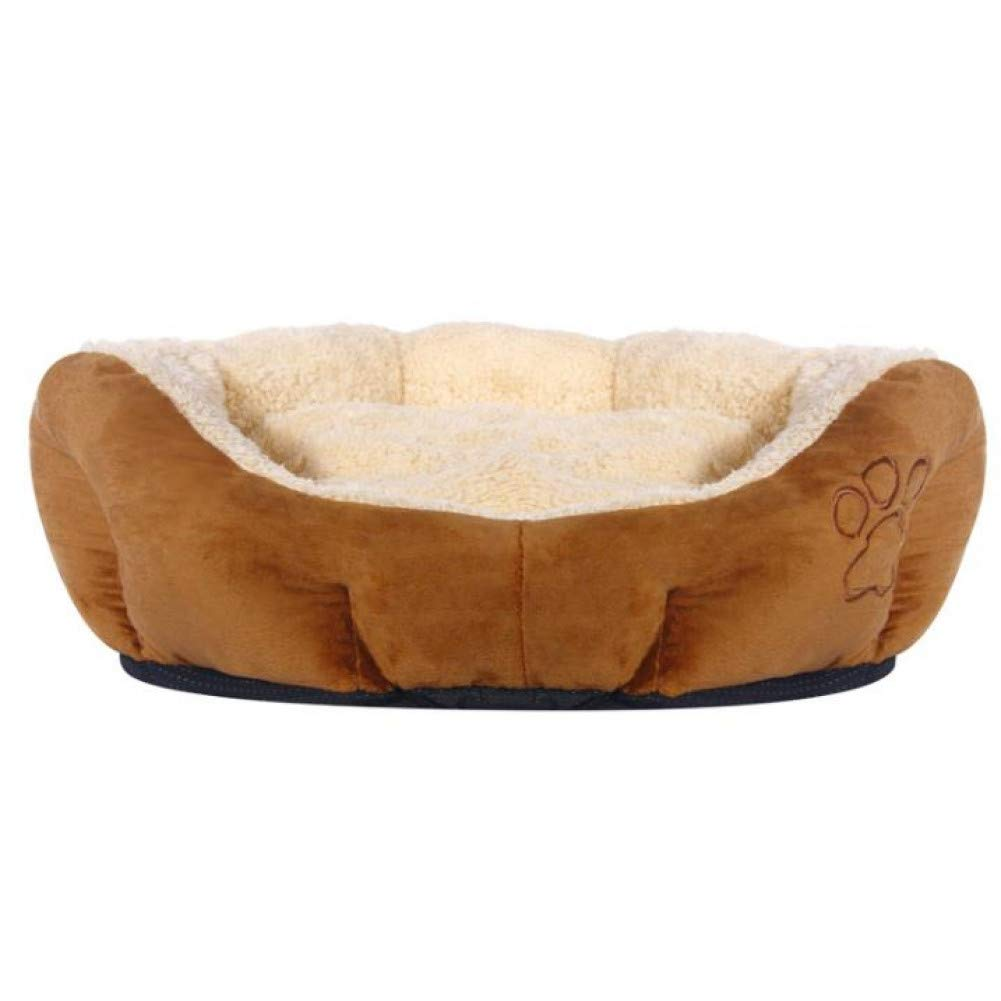 Light brown L CZHCFF Fluffy Puppy Dog Bed Labrador Retriever Sleeping Dog Lounger Soft Sofas Cat's House Kennel Paw Print Mattress for Cats Dogs