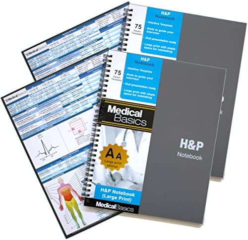 H&P notebook Plus 8.5″x10″ (Large Print) – Medical History and Physical notebook, 70 medical templates with perforations (pack of 2)