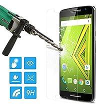 Droid Maxx 2 Screen Protector, MoKo HD Clear [Tempered Glass] Screen Protector for Motorola Droid Maxx 2 / Moto X Play, Scratch Proof Anti-Bubble Glass Film - Lifetime Warranty