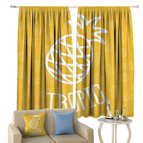 Yellow Decor Thermal Insulated Curtain Little Tropical Exotic African Pineapples Hawaiian Fun Summer Joy Symbol Home Decor Window Curtains for Living Room 55'' x 45'' Yellow White 45' Tropical Home Decor