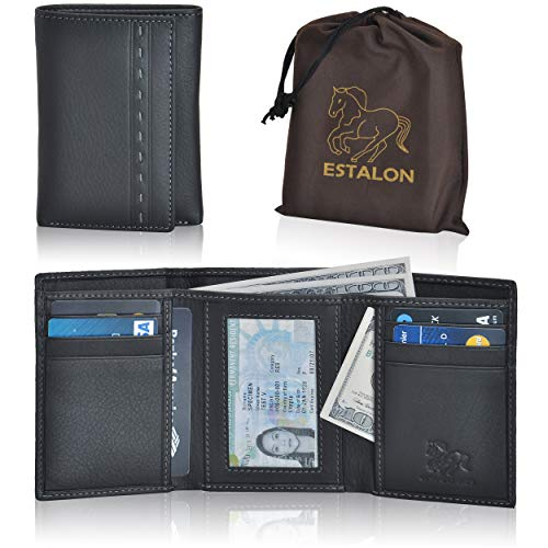 - RFID Leather Trifold Wallets for Men - Handmade Slim Mens Wallet 6 Credit Card ID Window and Gift Box Secure by Estalon (3.5x4.4x0.75, Black Italia Nappa)