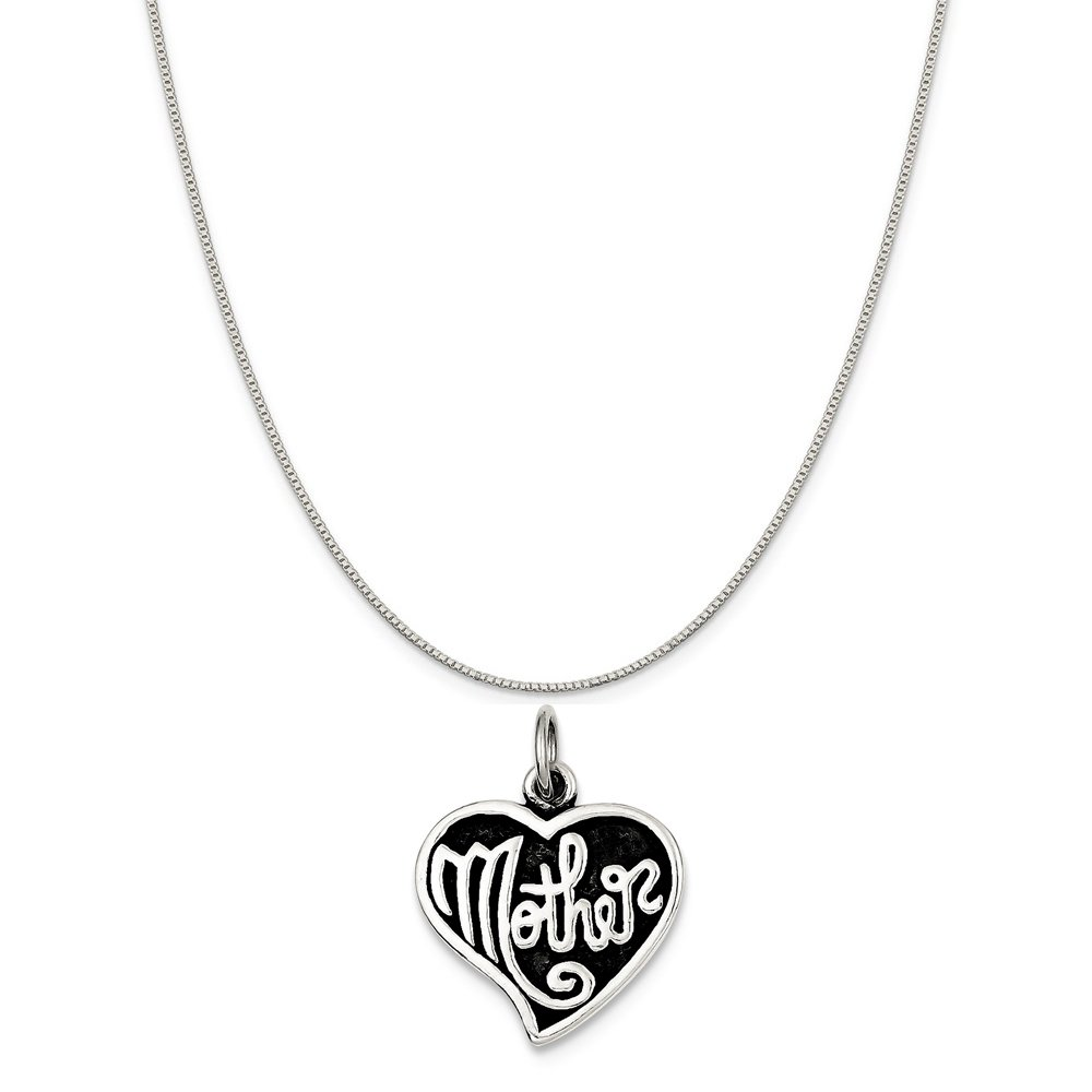 Mireval Sterling Silver Antique Mother Heart Charm on a Sterling Silver Chain Necklace 16-20