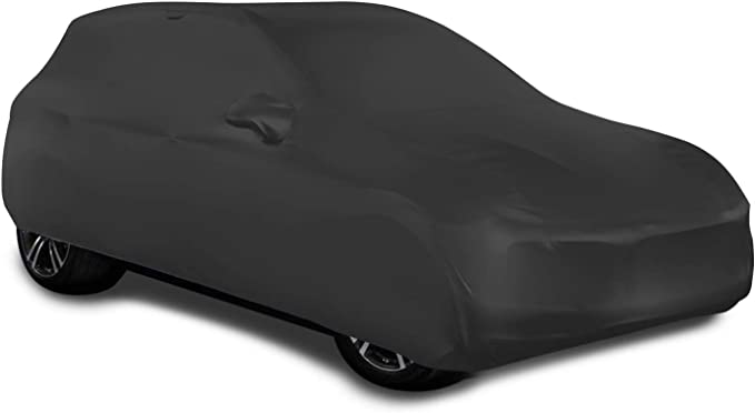 Sojoy Universal Indoor SUV Car Cover Soft Elastic Breathable Fabric Stretch Dust-Proof Protection Full Car Cover for Underground Garage Automobile Expo Car Show Black 171-215