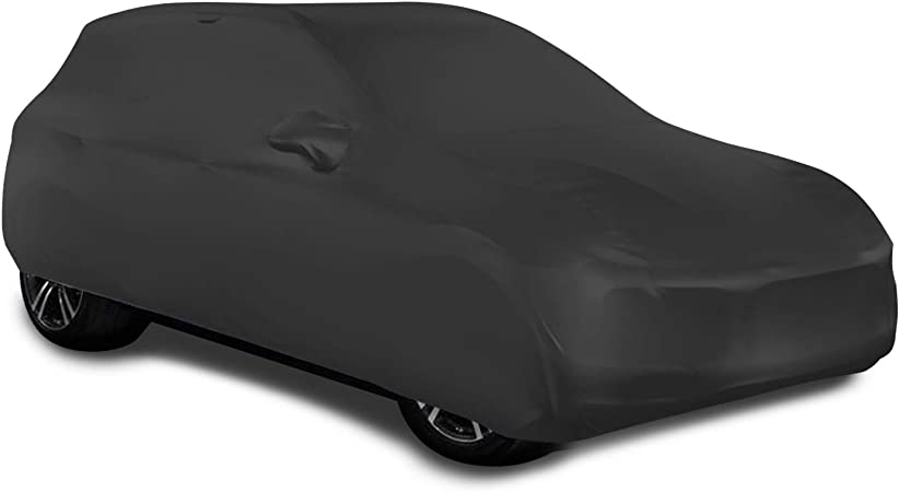 SLanguage Indoor Sports Car Cover Velvet Stretch Dust-Proof Protection Full Car Cover for Underground Garage Car Show Red 4.5-4.8m