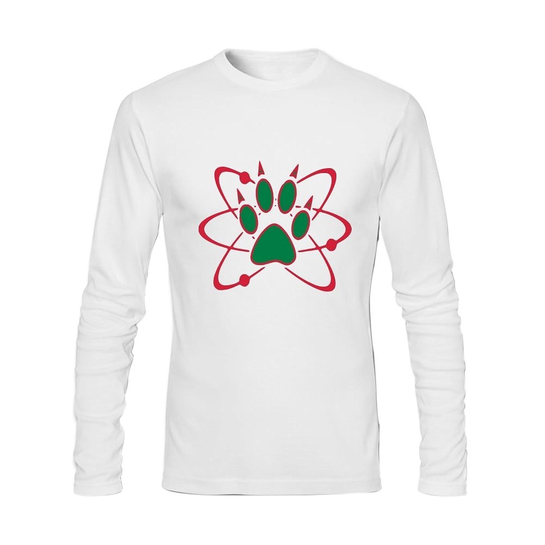 Anydover Happy Halloween Atom Bear Paw Mens 100% Cotton Crew Neck Long Sleeve T-Shirt XL White