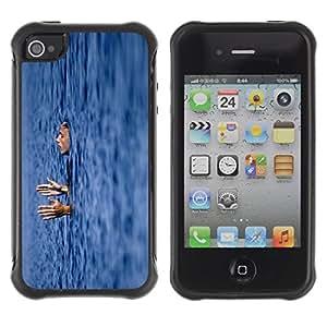 Fuerte Suave TPU GEL Caso Carcasa de Protección Funda para Apple Iphone 4 / 4S / Business Style sleeping swiming