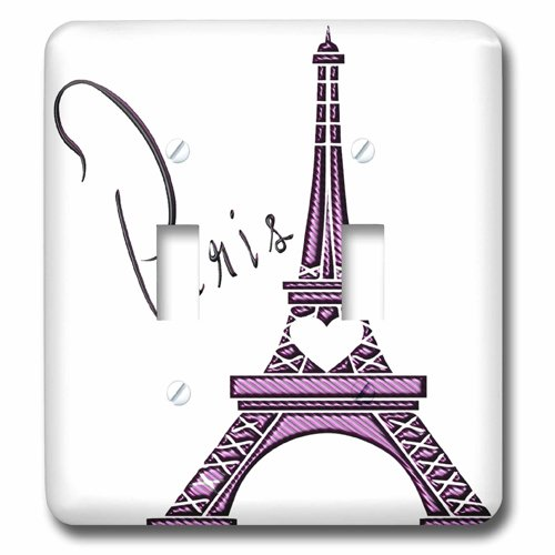 3dRose lsp_211115_2 Purple Gel Effect One Dimensional Eiffel Tower with the Word Paris Double Toggle Switch