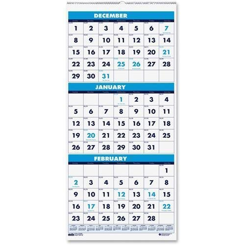 3646 House of Doolittle 3-Month Vertical Compact Wall Calendar - Monthly - 8