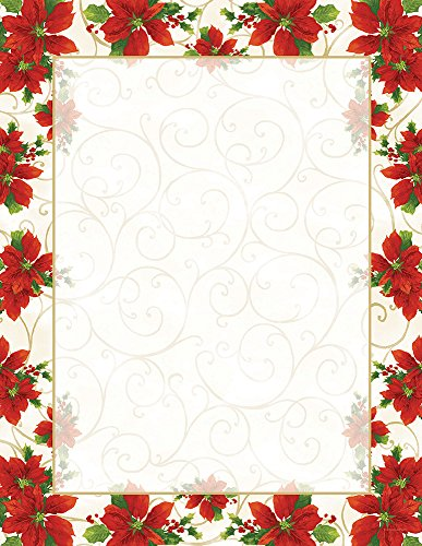Great Papers! Poinsettia Swirl Letterhead, 80 count, 11