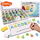 Classroom Magnetic Letters, Satkago Alphabet Magnets Letters Kit with 208 ABC Uppercase Lowercase Letters, 6 Symbols, 2 Magnet Board, Whiteboard Pen, Eraser and 44 Learning Cards
