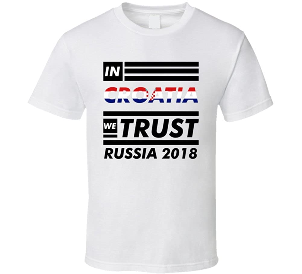 32787925f84 Amazon.com  in Croatia We Trust Russia 2018 Sports World Cup Soccer  Football Fan T Shirt  Clothing