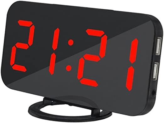 Amazon Com Ultra Thin Modern Snooze And Time Setting Led Digital Decorate Alarm Clock With Phone Charger For Home Decor Red Home Kitchen