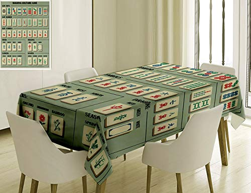 Nalagoo Unique Custom Cotton and Linen Blend Tablecloth 9 Complete Mahjong Set with Explanations Symbols Fully EditableTablecovers for Rectangle Tables, 60 x 40 Inches