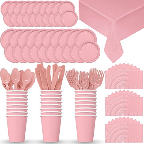 Disposable Paper Dinnerware for 24 - Light Pink - 2 Size plates, Cups, Napkins , Cutlery (Spoons, Forks, Knives), and tablecovers - Full Party Supply Pack