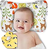 Baby Head Shaping Pillow - Newborn Infants Flat Head & Reflux Prevention - Organic Cotton Hypoallergenic - Breathable Air Mesh Cooling Neck Support - Machine Washable & Dry-able - Bib Shower Gift Set