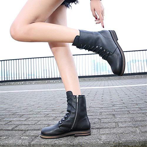 Calzado Straps Deportivo Ocio Flat Deed Sra Eu Boots Side Pu Zipper La 38 Cross B66gxYvq