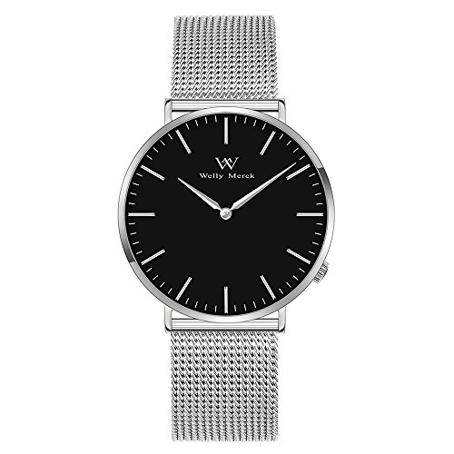 Welly Merck Swiss Movement Sapphire Crystal Women Luxury Watch Minimalist Ultra Thin Slim Analog Wrist Watch 18mm Silver Stainless Steel Mesh Band in Black 36mm 164ft Water Resistant by Welly Merck