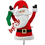 (US) Plush Santa Claus Head and Torso Pick Accent Christmas Tree Ornament Decor, 17 Inch x 10 inch x 5.5 inch on Bendable STick