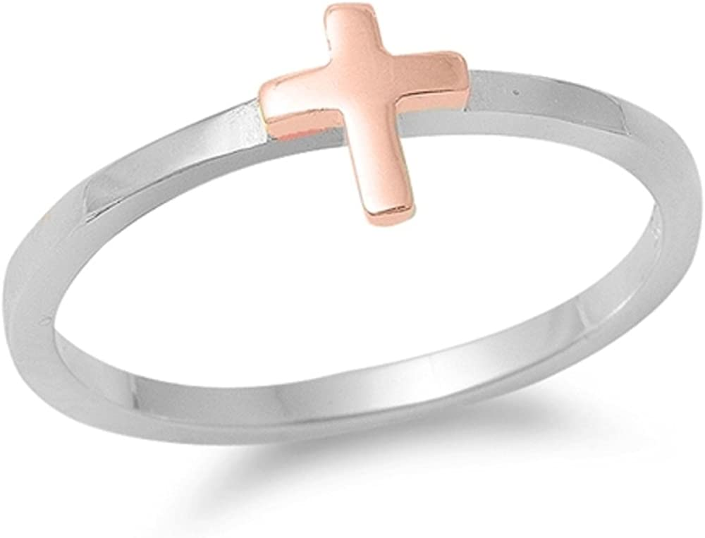 CloseoutWarehouse Rhodium Plated Sterling Silver with Rose Gold Cross Ring Size 6