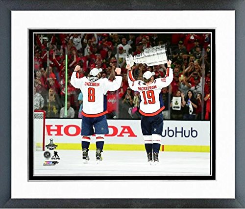 "Alex Ovechkin Nicklas Backstrom Washington Capitals Stanley Cup Trophy Photo (Size: 12.5"" x 15.5"") Framed"