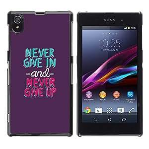 Nunca dé para arriba en verde menta púrpura- Metal de aluminio y de plástico duro Caja del teléfono - Negro - Sony Xperia Z1 L39