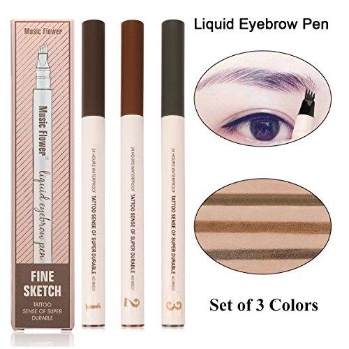 Eyebrow Pen-3 Colors Waterproof Chestnut Microblading Eyebrow Pen Smudge-Proof Brown Liquid Tattoo Pen-Four Tips Long-lasting Dark Gray Eyebrow Pen for Eyes Makeup (01#02#03#Chestnut/Brown/Dark Grey)