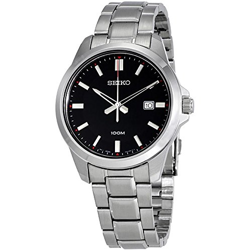 Seiko-Mens-42mm-Steel-Bracelet-Case-Hardlex-Crystal-Quartz-Black-Dial-Analog-Watch-SUR245