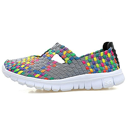 Sneakers Da Donna Multicolor Intrecciate Moda Traspirante Slip-on Walking Shoes Grigio
