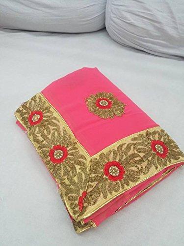 Pink Chiffon Saree With Bronze Machine Embroidery And Bangalore Silk