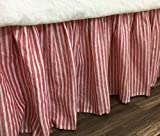 Red and White Striped Bed Skirt, Natural Linen – Farmhouse Beauty!, FREE SHIPPING
