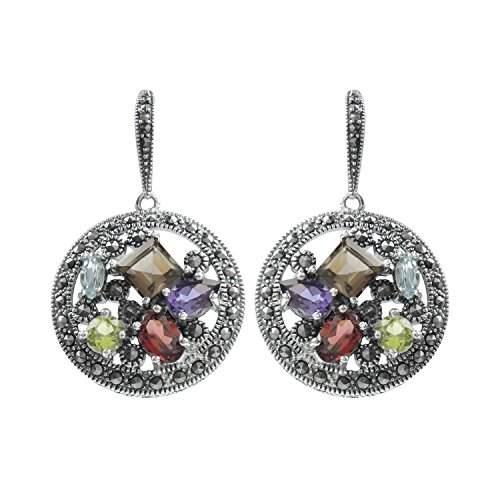 (Aura 925 Sterling Silver Earring Multi Gemstone, Marcasite)